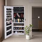New Wall Door Mounted Full Mirrored Jewelry Holder Organizer Cabinet Armoire US