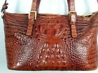 Brahmin Designer Brown Croc Embossed Footed Leather Purse Shoulder Hand Bag
