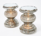 NEW Set of 2 Lit Candle Holder Pedestals w Mirror Inserts By Valerie SILVER