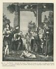 ANTIQUE THE NATIVITY ADORATION OF THE SHEPHERDS LAMB CHRIST CHILD SMALL PRINT