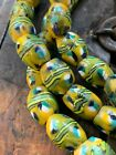 Venetian made glass trade beads rare strand collectible yellow turquoise white