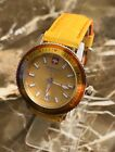 ZODIAC SEA WOLF ZO2806 YELLOW / RED SWISS MADE LADIES LEATHER STRAP WATCH