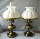 Pair of Vintage Brass Hurricane Electric Lamps Milk Glass Melon Ribbed Shades