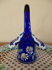 FENTON HAND PAINTED DAISY FLOWERS ON COBALT WITH MILK GLASS CREST HAT BASKET