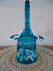 FENTON HAND PAINTED FLOWERS ON TURQUOISE HAT BASKET WITH MILK GLASS CREST QVC