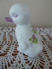 FENTON VINTAGE HAND PAINTED VIOLETS IN THE SNOW DUCK DUCKLING FIGURINE