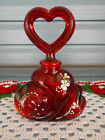 FENTON HAND PAINTED FLOWERS ON RUBY RED HEART PERFUME BOTTLE