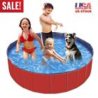 63 XXL Foldable Pet Dog Swimming Pool PVC Bath Tub Kids Pools Whelping Box