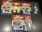 VINTAGE TY Beanie Babies McDONALD'S, American Trio, Libearty, RIghty, Lefty NIB
