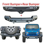 Vijay Black Front And Rear Bumper For 07-17 Jeep Wrangler Jk With Hook Hole