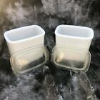 Anchor Hocking Milk Glass Refrigerator Containers Mod Vintage With Lids