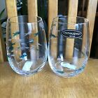CYNTHIA ROWLEY School Of Fish Wine Glasses Stemless BLUE Etched Glass 2PC NWT