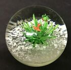 Round Glass Paperweight With Fish And Frog