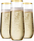 48 Pack Plastic Stemless Champagne Flutes 9 Oz Gold Rim Clear Toasting Glasses
