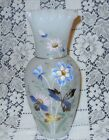 Vintage Bristol Glass Enamel Painted Butterfly  Floral on Moon Glass 9 Vase