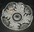 Millersburg glass Frosted Hobstar  Feather Low Bowl