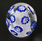 VINTAGE MURANO BLUE WHITE CLEAR BUBBLE OVAL GLASS PAPERWEIGHT ITALY