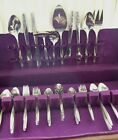 59 Pc SET AMERICAN STAINLESS USA FLATWARE INS88 PATTERN ROSE  TEXTURED TIP