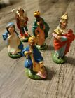 Vintage 6 Piece paper mache Nativity Incomplete Set Made in Italy