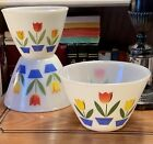Vintage Fire King Tulips On White Or Ivory Mixing Nesting Bowls - Set Of 3