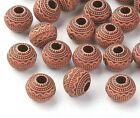Jewelry Making Findings Wood Look Craved Pattern Acrylic Beads 30pc