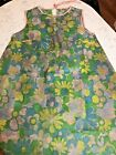 Vintage Flower Power Paper Dress Turquoise 1960s