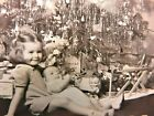 Original 1940s CHRISTMAS Photo LITTLE GIRL  BABY BROTHER by TREE  TOYS