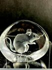 Mats Jonasson Sitting Mouse Rat Engraved Paperweight Sculpture Signed 3369