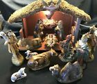 Vintage Lighted Musical Nativity Set Creche Japan 13 Pc Chalkware Original Box