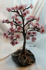 Handmade 11 cherry tree sculpture with glass beads on stone base
