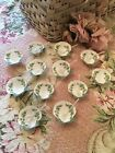 12 Lovely Antique Sea Shell Floral Hand Painted Salt Dishes 8