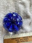 Vintage Joe Rice 95 Royal Blue White Paperweight