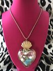 Betsey Johnson Vintage Sea Excursion Heart Bottle Sand Clam Turtle Crab Necklace
