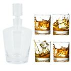 5pc Mikasa Donovan Decanter Set European Lead Free Crystal Drink Serving Glasses