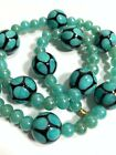 Vintage Murano Glass Venetian Art Beads Blue Black Strand Choker Necklace