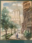CHICAGO WATERCOLOR Original Art WPA Era MCM Modernism MARSHALL FIELD CO Signed