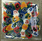 Peggy Karr signed Pansy Design Fused Art Glass Plate 12 1 2 Square Platter