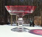 Val St Lambert Cranberry Art Glass Cut to Clear Compote