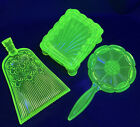 Boyds  Summit Vaseline Glass Lot Hand Mirror Covered Footed Box Trinket Dish