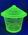 Imperial Summit Art Glass Vaseline Bird Cage Covered Candy Dish