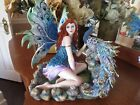 12 Auburn haired Blue eyed Fairy Figurine with Peacock New in Box