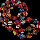 Vintage Italian Red Murano Millefiori Glass Bead Hand Knotted Necklace