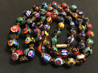 Vintage VENETIAN MURANO MORETTI MILLEFIORI GLASS BEAD NECKLACE 28 Blown Beads