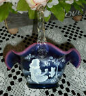FENTON ART GLASS PLUM OPALESCENT BASKET MARY GREGORY 100TH ANNIV 2005 FGS STAMP