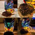 Stained Glass Butterfly Table Lamp Night Light Rose Base