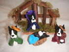 Boston Terrier Dog Handmade Clay 4 piece Nativity by Sandra