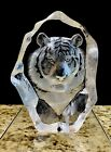 Matt Jonasson Tiger Full Lead Crystal Glass Paperweight Sweden