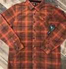NEW 55 ONeill Superfleece Mens Orange Black Plaid Snap Button XL