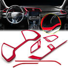 Red Air Vent Outlet + Dashboard Panel Frame Cover Trim For Honda Civic 2016 2020