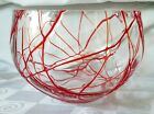 Hand Blown Glass Red Spaghetti Drizzle Bowl Cut Polished Rim Great Texture Perty